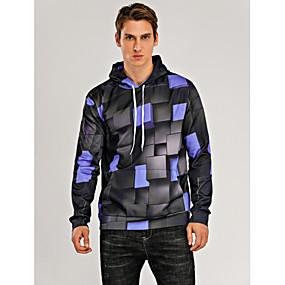 cheap Athleisure Wear-Men's Hoodie 3D Basic Hoodies Sweatshirts  Blue Purple Red