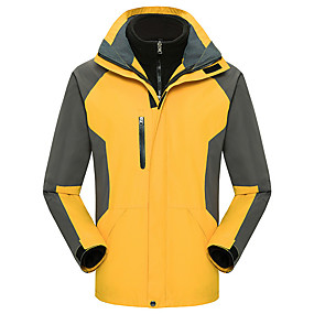cheap Camping, Hiking & Backpacking-Men's Hiking Jacket Autumn / Fall Winter Spring Outdoor Patchwork Waterproof Windproof Warm Soft Jacket Top Softshell Camping / Hiking / Caving Traveling Black Yellow Red