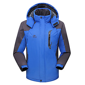 cheap Camping, Hiking & Backpacking-Men's Hiking Jacket Hoodie Jacket Ski Jacket Autumn / Fall Winter Outdoor Patchwork Thermal Warm Waterproof Windproof Insulated Hoodie Winter Jacket Top Skiing Camping / Hiking Hunting Black Red Army