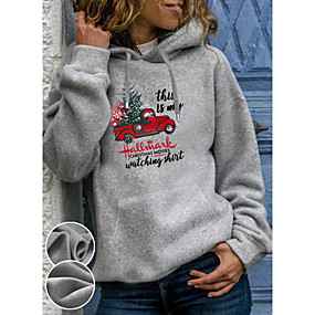 cheap Athleisure Wear-Women's Pullover Hoodie Sweatshirt Graphic Cartoon Front Pocket Daily Basic Casual Hoodies Sweatshirts  Gray / Fleece Lining