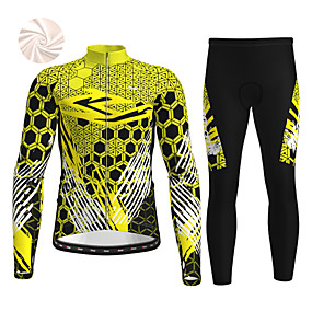 cheap Cycling & Motorcycling-21Grams Men's Long Sleeve Cycling Jersey with Tights Winter Fleece Black / Yellow Red Blue Bike Fleece Lining Breathable Warm Sports Graphic Mountain Bike MTB Road Bike Cycling Clothing Apparel