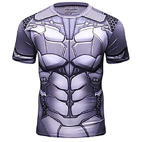 cheap Athleisure Wear-men's bat hero shirt sports fitness t-shirt party/cosplay short sleeve (l)