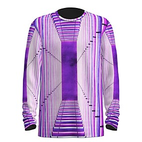 cheap Athleisure Wear-Men's T shirt 3D Print Graphic Abstract 3D Print Long Sleeve Daily Tops Purple