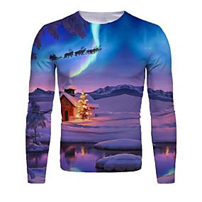 cheap Athleisure Wear-Men's T shirt 3D Print Graphic Scenery 3D Print Long Sleeve Christmas Tops Purple