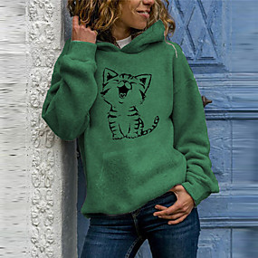 cheap Athleisure Wear-Women's Hoodie Pullover Cat Daily Casual Hoodies Sweatshirts  Loose White Blushing Pink Green