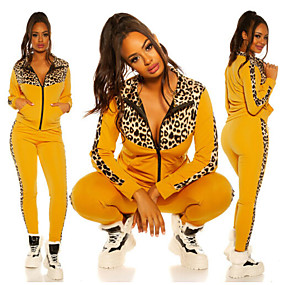 cheap Running & Jogging-Women's 2 Piece Full Zip Tracksuit Sweatsuit Street Athleisure 2pcs Winter Long Sleeve Thermal Warm Breathable Soft Fitness Gym Workout Running Jogging Training Sportswear Leopard Normal Hoodie White