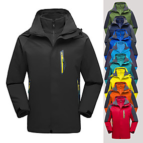 cheap Camping, Hiking & Backpacking-Men's Hiking Jacket Hoodie Jacket Hiking 3-in-1 Jackets Autumn / Fall Winter Outdoor Solid Color Thermal Warm Windproof Lightweight Breathable Jacket Top Fleece Single Slider Camping / Hiking Hunting