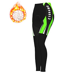 cheap Cycling & Motorcycling-21Grams Women's Cycling Tights Cycling Pants Winter Fleece Polyester Bike Tights Padded Shorts / Chamois Pants Thermal Warm Fleece Lining Breathable Sports Yellow / Red / Blue Mountain Bike MTB Road