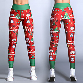 cheap Running & Jogging-Women's Running Tights Leggings Compression Pants Street Base Layer Bottoms Spandex Winter Fitness Gym Workout Running Training Exercise Tummy Control Butt Lift Breathable Sport 3D Christmas Red