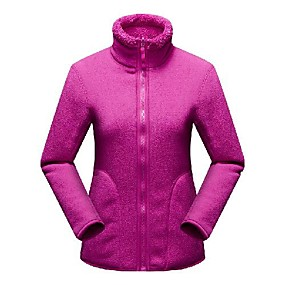 cheap Camping, Hiking & Backpacking-Women's Hiking Fleece Jacket Autumn / Fall Winter Outdoor Solid Color Windproof Fleece Lining Warm Soft Winter Fleece Jacket Top Single Slider Camping / Hiking / Caving Traveling Winter Sports Violet