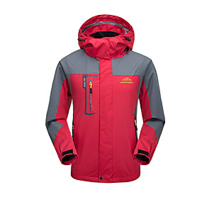 cheap Camping, Hiking & Backpacking-Men's Hiking Jacket Hoodie Jacket Autumn / Fall Winter Spring Outdoor Solid Color Windproof Rain Waterproof Breathable Wear Resistance Jacket Top Single Slider Camping / Hiking Climbing Outdoor