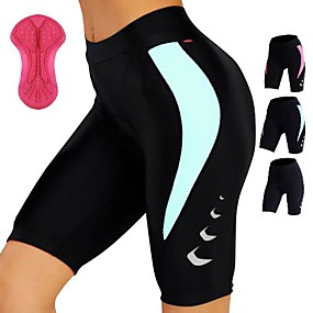 cheap Cycling & Motorcycling-TASDAN Women's Cycling Padded Shorts Nylon Bike Shorts Padded Shorts / Chamois Pants Breathable Quick Dry Sports Solid Color Black / Pink / Black / Black / Blue Road Bike Cycling Clothing Apparel