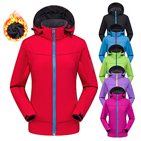 cheap Women-Women's Hoodie Jacket Hiking Softshell Jacket Hiking Jacket Winter Outdoor Solid Color Waterproof Windproof Fleece Lining Breathable Jacket Top Softshell Hunting Fishing Climbing Violet Black Red