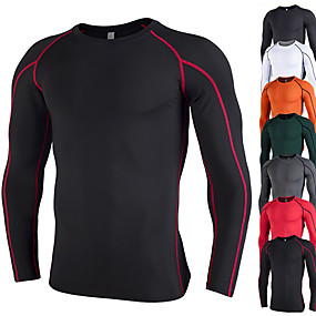 cheap Yoga & Fitness-Men's Long Sleeve Compression Shirt Running Shirt Tee Tshirt Base Layer Top Athletic Summer Elastane Thermal Warm Quick Dry Breathable Fitness Gym Workout Running Jogging Training Sportswear Solid