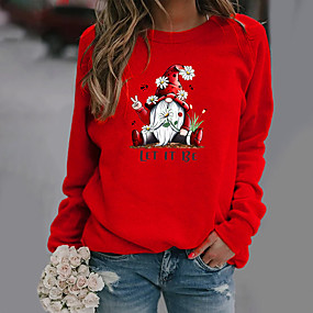 cheap Athleisure Wear-Women's Christmas Solid Color Letter Women's Hoodies Long Sleeve Sweater Cardigans Crew Neck Fall Winter White Black Purple