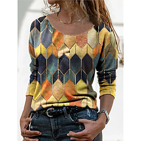 cheap Athleisure Wear-Women's Blouse T shirt Plaid Color Block Long Sleeve Print Round Neck Tops Vintage Streetwear Basic Top Blue Red Yellow