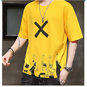 cheap Athleisure Wear-Men's T shirt Other Prints Portrait Short Sleeve Daily Tops White Black Yellow