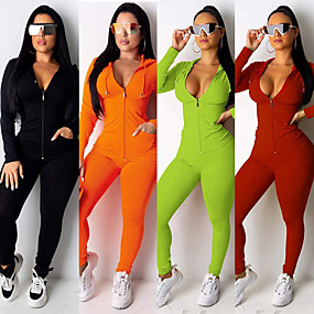cheap Women-Women's 2-Piece Full Zip Tracksuit Sweatsuit Jogging Suit Street Athleisure Long Sleeve Spandex Fitness Gym Workout Performance Running Jogging Sportswear Solid Colored Outfit Set Clothing Suit