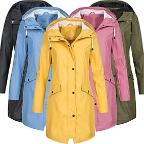 cheap Camping, Hiking & Backpacking-Women's Hoodie Jacket Rain Jacket Lightweight Windbreaker Outdoor Waterproof Windproof Breathable Quick Dry Jacket Top Cotton Hunting Fishing Climbing Pink Black Blue Yellow Green