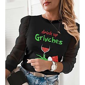 cheap Athleisure Wear-Women's Christmas Letter Women's Hoodies Long Sleeve Sweater Cardigans Crew Neck Fall Winter Black