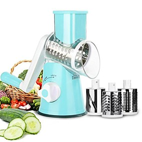 cheap Fruit & Vegetable Tools-Hand Rotary Grater Multi-function Vegetable Slicer with 3 Interchangeable Blades Rotary Grater Slicer for Fruit Vegetables Nuts Household Dicer Quick Rotary Cutter