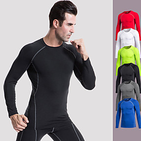 cheap Running & Jogging-Men's Long Sleeve Compression Shirt Running Shirt Tee Tshirt Base Layer Top Top Athletic Summer Elastane Quick Dry Breathable Soft Fitness Gym Workout Basketball Running Cycling Sportswear Stripes