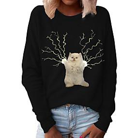 cheap Athleisure Wear-Women's Pullover Sweatshirt Cat Graphic 3D Daily Basic Casual Hoodies Sweatshirts  Black