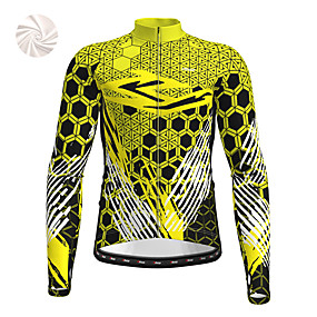 cheap Cycling & Motorcycling-21Grams Men's Long Sleeve Cycling Jacket Winter Fleece Polyester Yellow Red Blue Bike Jacket Top Mountain Bike MTB Road Bike Cycling Thermal Warm Fleece Lining Breathable Sports Clothing Apparel