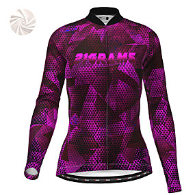 cheap Cycling & Motorcycling-21Grams Women's Long Sleeve Cycling Jacket Winter Fleece Polyester Purple Geometic Bike Jacket Top Mountain Bike MTB Road Bike Cycling Thermal Warm Fleece Lining Breathable Sports Clothing Apparel