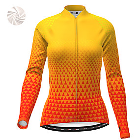 cheap Cycling & Motorcycling-21Grams Women's Long Sleeve Cycling Jacket Winter Fleece Polyester Yellow Geometic Bike Jacket Top Mountain Bike MTB Road Bike Cycling Thermal Warm Fleece Lining Breathable Sports Clothing Apparel