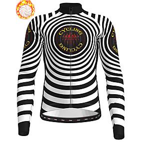 cheap Cycling & Motorcycling-21Grams Men's Long Sleeve Cycling Jersey Winter Fleece Polyester Black Stripes Bike Jersey Top Mountain Bike MTB Road Bike Cycling Fleece Lining Warm Quick Dry Sports Clothing Apparel / Stretchy