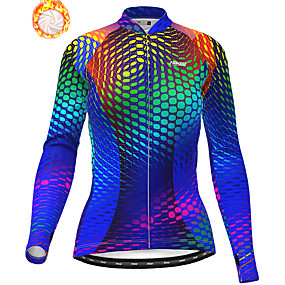 cheap Cycling & Motorcycling-21Grams Women's Long Sleeve Cycling Jacket Winter Fleece Polyester Blue Bike Jacket Top Mountain Bike MTB Road Bike Cycling Thermal Warm Fleece Lining Breathable Sports Clothing Apparel / Stretchy