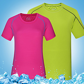 cheap Camping, Hiking & Backpacking-Wolfcavalry® Women's Hiking Tee shirt Short Sleeve Crew Neck Tee Tshirt Top Outdoor Quick Dry Breathable Stretchy Comfortable Spring Summer Polyester Solid Color Light Green Fuchsia Orange Hunting