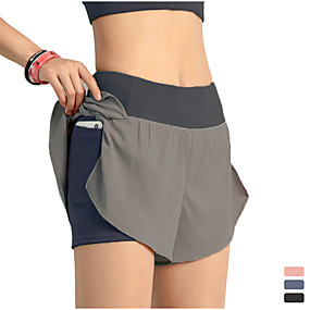 cheap Exercise, Fitness & Yoga-INFLACHI Women's Running Shorts Bottoms 2 in 1 with Phone Pocket Liner Gym Workout Marathon Running Jogging Trail Lightweight Breathable Quick Dry Sport Solid Colored Black Blushing Pink Blue