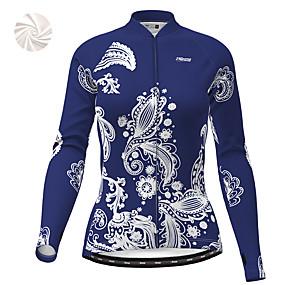 cheap Cycling & Motorcycling-21Grams Women's Long Sleeve Cycling Jacket Winter Fleece White Dark Blue Bike Jacket Top Mountain Bike MTB Road Bike Cycling Thermal Warm Fleece Lining Breathable Sports Clothing Apparel / Stretchy