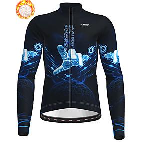 cheap Cycling & Motorcycling-21Grams Men's Long Sleeve Cycling Jacket Winter Fleece Polyester Dark Navy Bike Jacket Top Mountain Bike MTB Road Bike Cycling Thermal Warm Fleece Lining Breathable Sports Clothing Apparel / Stretchy