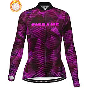cheap Cycling & Motorcycling-21Grams Women's Long Sleeve Cycling Jacket Winter Fleece Purple Bike Jacket Top Mountain Bike MTB Road Bike Cycling Thermal Warm Fleece Lining Breathable Sports Clothing Apparel / Stretchy
