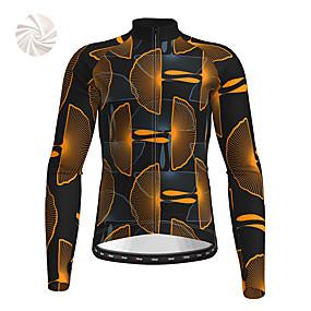 cheap Cycling & Motorcycling-21Grams Men's Long Sleeve Cycling Jersey Winter Fleece Polyester Yellow Blue Orange Bike Jersey Top Mountain Bike MTB Road Bike Cycling Fleece Lining Warm Quick Dry Sports Clothing Apparel / Stretchy