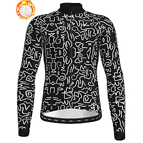 cheap Cycling & Motorcycling-21Grams Men's Long Sleeve Cycling Jacket Winter Fleece Polyester Black Geometic Bike Jacket Top Mountain Bike MTB Road Bike Cycling Thermal Warm Fleece Lining Breathable Sports Clothing Apparel