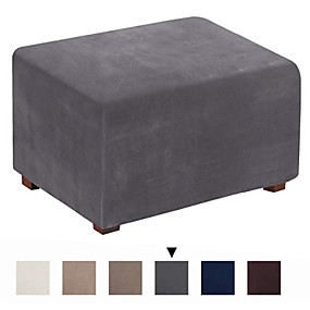 cheap Slipcovers-Ottoman Cover Suede Slipcovers Rectangle Footrest Sofa Slipcovers Footstool Protector Covers Stretch Fabric Storage Ottoman Covers High Spandex Suede Slipcover WaterProof
