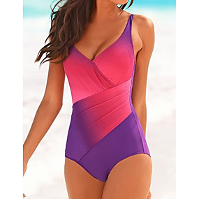cheap Surfing, Swimming & Diving-Women's One Piece Swimsuit Color Block Blue Purple Swimwear Bathing Suits