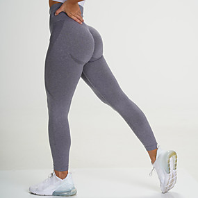 cheap Yoga & Fitness-Women's High Waist Yoga Leggings Seamless Pants Tights Leggings Tummy Control Butt Lift 4 Way Stretch Black Purple Yellow Nylon Spandex Fitness Gym Workout Running Summer Sports Activewear High