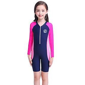 cheap Kid's-YOBEL Girls' Rash Guard Dive Skin Suit Elastane Diving Suit UV Sun Protection Quick Dry High Elasticity Long Sleeve Front Zip Boyleg - Swimming Diving Surfing Snorkeling Multi Color Stripes Summer