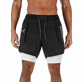 cheap Running & Jogging-Men's Running Shorts Athleisure Bottoms 2 in 1 with Phone Pocket Towel Loop Fitness Gym Workout Performance Running Training Breathable Quick Dry Soft Normal Sport White Black Grey / Micro-elastic