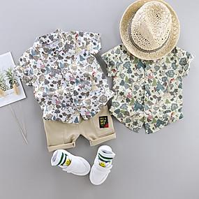 cheap Boys' Clothing-Toddler Kid's Boys' Shirt & Shorts Clothing Set White Floral Print Short Sleeve 2 Piece Patchwork Print Casual Holiday White Green Basic Vacation Boho Regular Above Knee Regular 1-4 Years