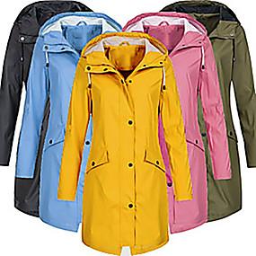 cheap Camping, Hiking & Backpacking-Women's Hiking Jacket Hiking Windbreaker Winter Outdoor Waterproof Windproof Breathable Top Full Length Visible Zipper Hunting Fishing Climbing Pink Blue Yellow Black Green