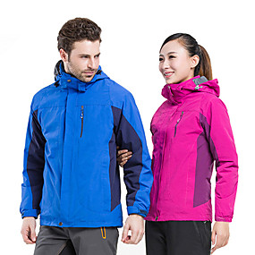 cheap Camping, Hiking & Backpacking-Men's Hiking 3-in-1 Jackets Fall Spring Summer Outdoor Thermal Warm Breathable 3-in-1 Jacket Top Camping / Hiking Climbing Camping / Hiking / Caving Blue Red Dark Navy