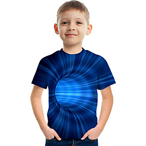 cheap Boys' Clothing-Kids Boys' T shirt Tee Short Sleeve Graphic 3D Children Summer Tops Active Blue