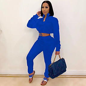 cheap Running & Jogging-Women's 2 Piece Tracksuit Streetwear Casual Winter Quick Dry Soft Running Sportswear Red Blue Green Activewear Micro-elastic