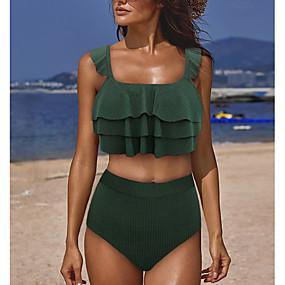 cheap Surfing, Swimming & Diving-Women's Tankini Swimsuit High Waist Black Blue Green Swimwear Padded Bathing Suits